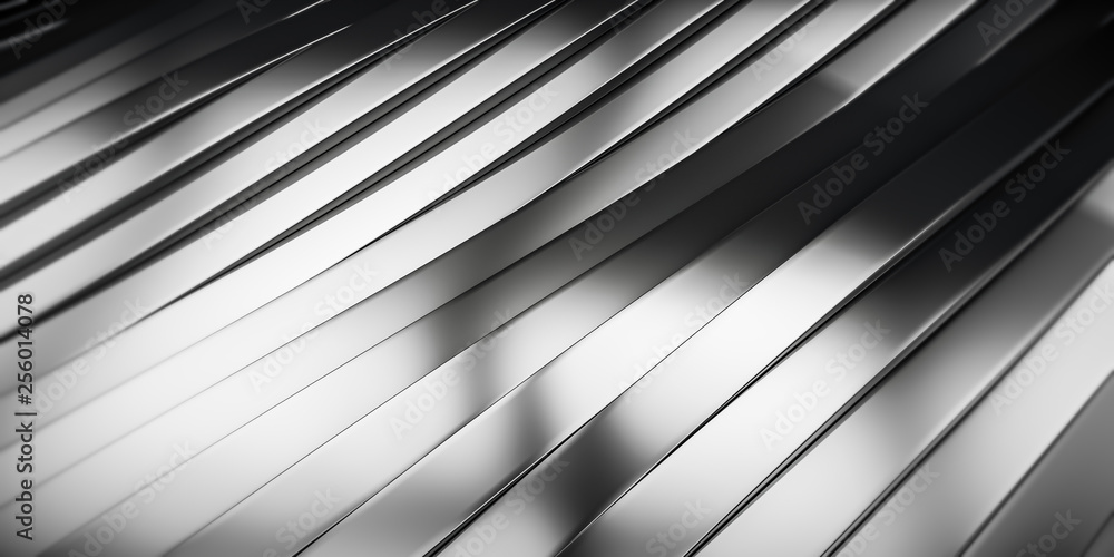 Fototapety, obrazy: Elegant Luxury Metal smooth line background. Abstract metallic Stainless steel curve shapes. 3d render