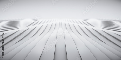 Elegant Luxury White Metal smooth line background.  Abstract metallic curve shapes. 3d render - 256014086