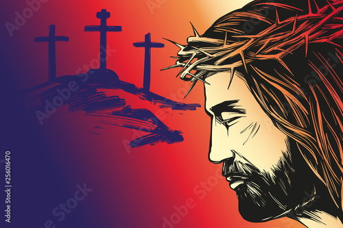 Papel de parede Jesus Christ, the Son of God, calligraphic text, Holy Easter holiday religious c