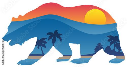 Stampa su Tela California bear with mountain shoreline summer scene overlay isolated vector ill