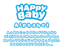 Happy Baby. Alphabet English Uppercase And Lowercase Letters For Prints And Logos. Vector Illustration