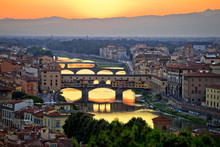 Florence Cityscape And Arno River Bridges Sunset View
