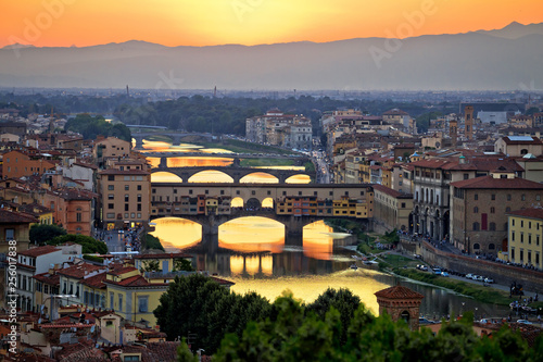 Florence cityscape and Arno river bridges sunset view Canvas Print