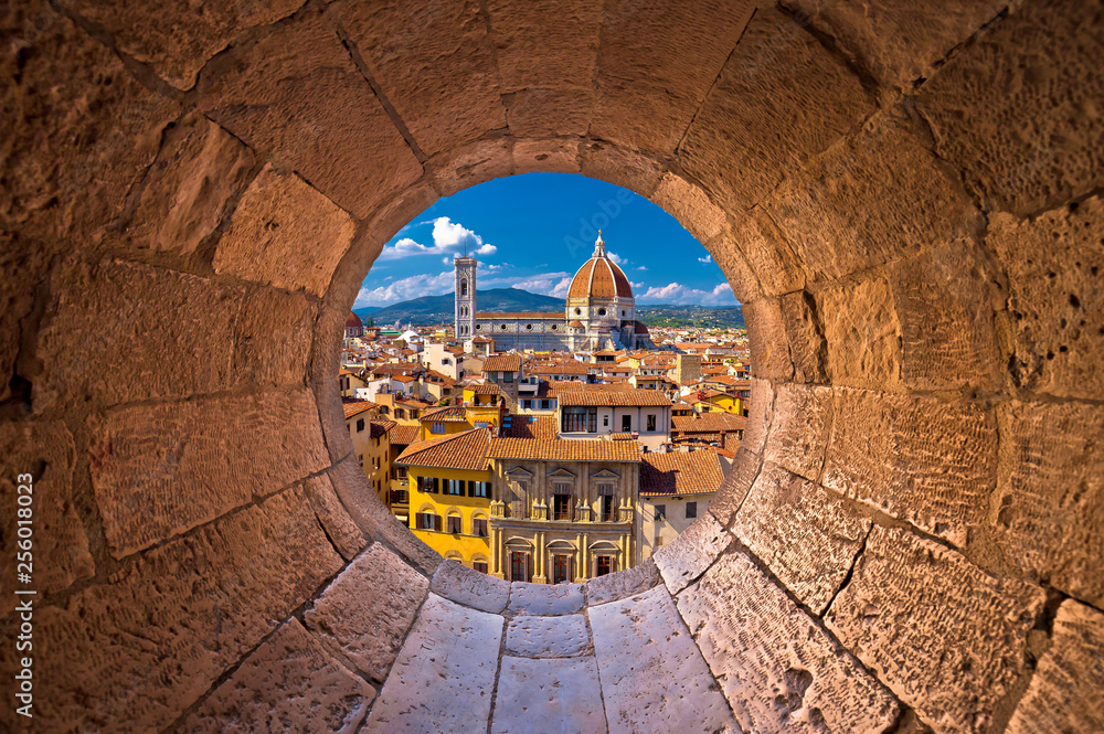 Fototapeta Florence cathedral di Santa Maria del Fiore or Duomo view trhrough stone window