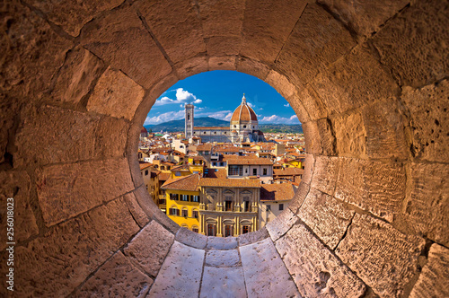 Florence cathedral di Santa Maria del Fiore or Duomo view trhrough stone window