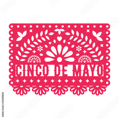 Vector Papel Picado greeting card with floral and decorative elements Billede på lærred