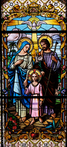 Photo Holy Family, stained glass window in the Parish Church of the Visitation of the