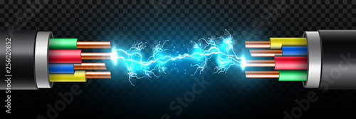 Creative vector illustration of electric glowing lightning between colored break cable, copper wires with circuit sparks isolated on transparent background Canvas Print