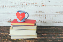 I Love Mom, Books Next To A Cup Of Coffee