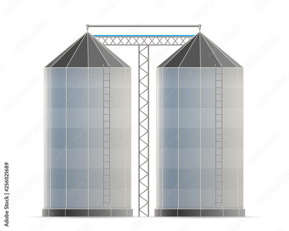 Fototapety, obrazy: Creative vector illustration of agricultural silo storehouse for grain storage elevator isolated on transparent background. Art design farm template. Abstract concept graphic wheat, corn tank element