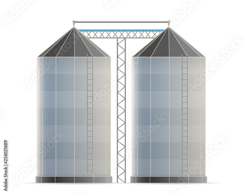 Obraz Creative vector illustration of agricultural silo storehouse for grain storage elevator isolated on transparent background. Art design farm template. Abstract concept graphic wheat, corn tank element - fototapety do salonu