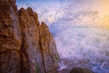Big Waves Crashing On Cliff During Daytime