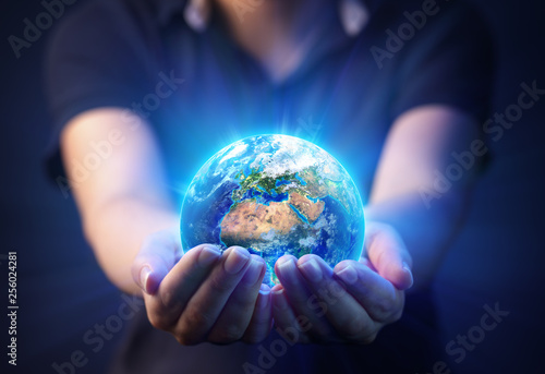 Stickers pour porte Pierre, Sable Hands Holding Planet - Earth Day Concept - 3d Rendering - Europe And Africa elements of this image furnished by NASA