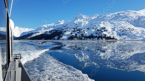 Winter Mountains/Glaciers, Snow Covered, as Seen from a Cruise Ship on a Crisp, Canvas Print