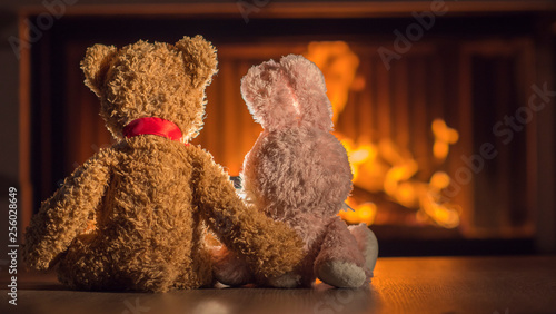 Fotografía  Two plush toys are heated near the fireplace