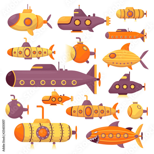 Set of submarine vector sea pigboat or marine sailboat underwater and ship trans Wallpaper Mural