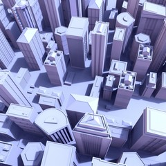Night city .Big cities cityscapes and buildings .3D rendering - Illustration .