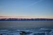Sacred rocks Shamanka on the Olkhon island. Winter dawn. Baikal, Russia
