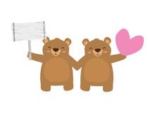Cute Little Bears With Heart