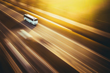 White Bus Transport Speed Highway Road Street