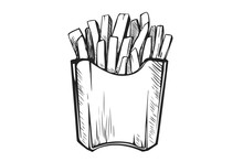Hand Drawn French Fries. Fast Food, Junk Food Icon.