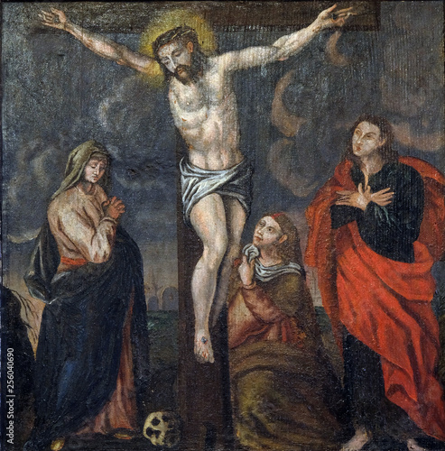 Fotografie, Obraz  Crucifixion Jesus dies on the cross, altarpiece in the Church of the Saint Barba