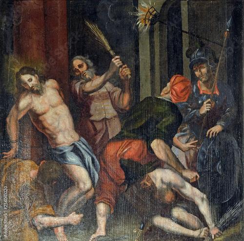 Flagellation of Christ, altarpiece in the Church of the Saint Barbara in Velika Fototapet