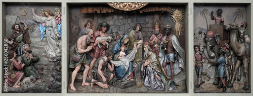 Fotografie, Obraz  Nativity Scene, altarpiece in the church of Saint Matthew in Stitar, Croatia