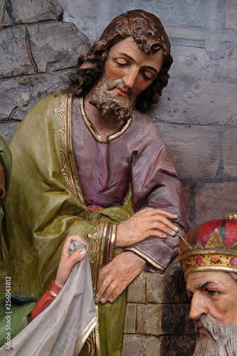 Saint Joseph, Nativity Scene, altarpiece in the church of Saint Matthew in Stita Wallpaper Mural
