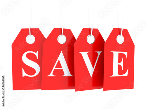 Cuadros en Lienzo Save word text on red glossy hanging etiquette - save money, buy cheap