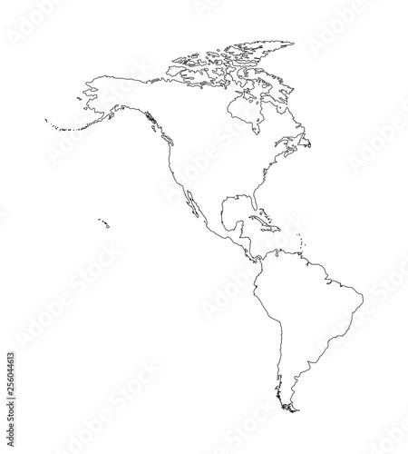 Vector Illustration With Map Of North And South America