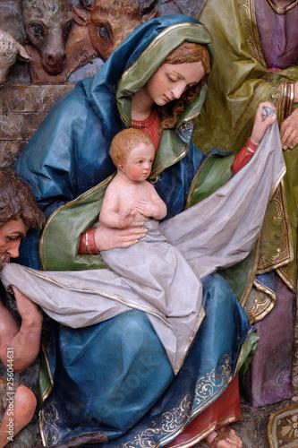 Fototapeta Nativity Scene, altarpiece in the church of Saint Matthew in Stitar, Croatia