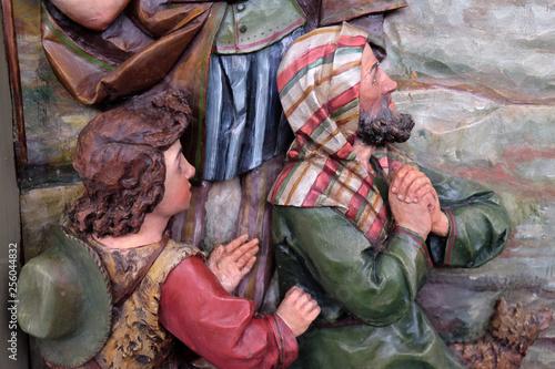 Fotografia, Obraz Adoration of the Shepherds, Nativity Scene, altarpiece in the church of Saint Ma