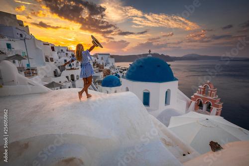 Foto auf Gartenposter Santorini Santorini greece famous Oia in sunset time golden hour