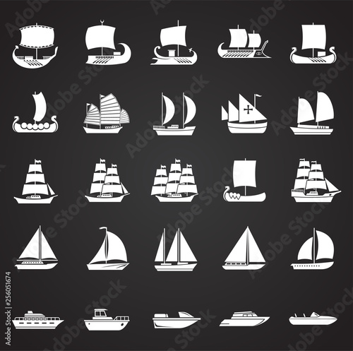 Pinturas sobre lienzo  Ship icons set on black background for graphic and web design