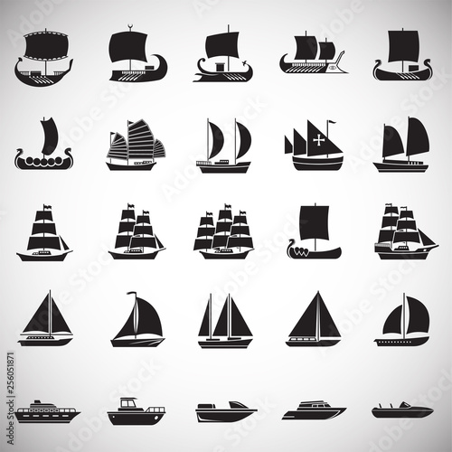 Fotomural Ship icons set on white background for graphic and web design