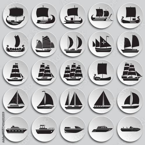 Fotografía Ship icons set on plates background for graphic and web design