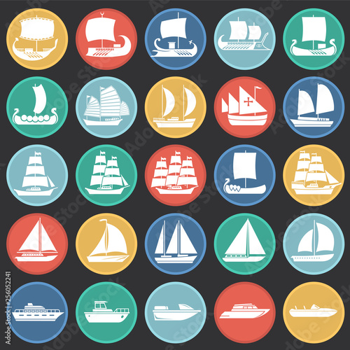 Cuadros en Lienzo Ship icons set on color circles black background for graphic and web design
