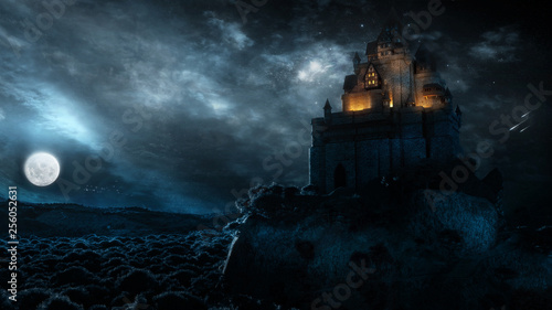 Obraz na plátně  Majestic Castle Landscape With Glowing Clouds In Full Moon Night