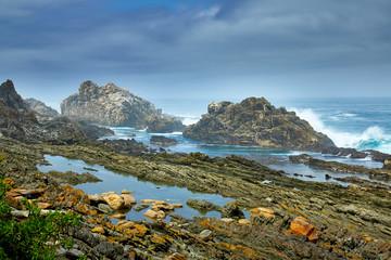 Skaliste wybrzeże w południowej afryce
