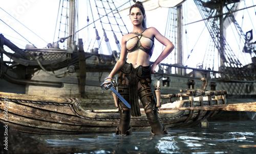 Fotografía  Portrait of a pirate female coming ashore . 3d rendering