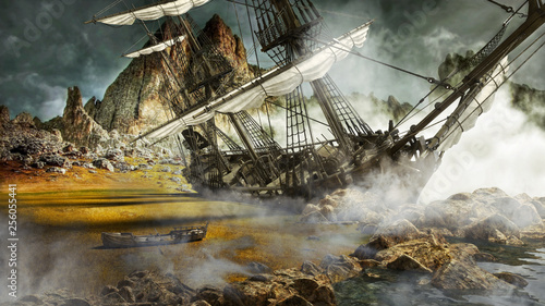 Beached pirate ship in a mystical scenic land. 3d rendering Fototapet