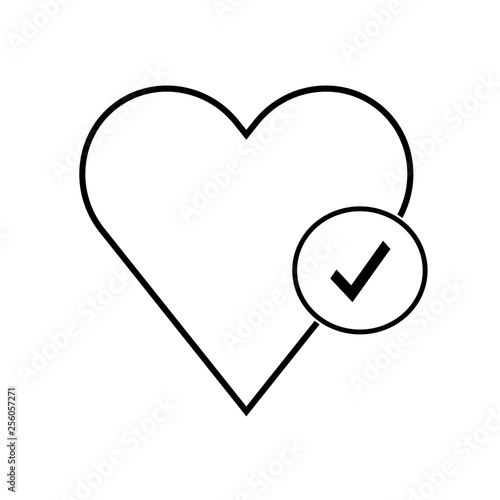 Line icon healthy heart with checkmark symbol, health line icon for
