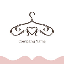 Logo For Wedding Boutique, Women's Dress Shop, Atelier. Vector Template Of The Brand For The Fashion Designer. Vintage Silhouette Of A Hanger Made From Lines And Heart