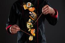 Master Chef Holding Chopsticks With Flying Sushi