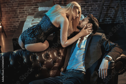 Tuinposter Artist KB Portrait of a romantic couple in a luxurious apartment