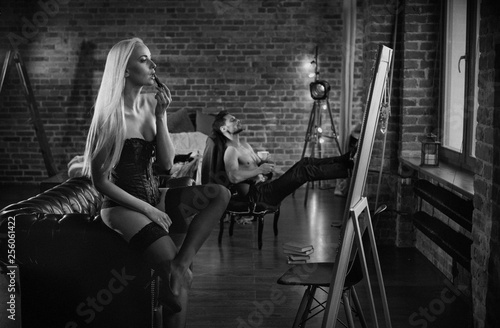 Foto op Plexiglas Artist KB Sensual couple relaxing in a modern, stylish apartment