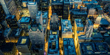 Aerial view of Chicago downtown by night - 256061626