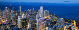 Aerial view of Chicago skyline by night - 256061630