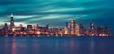 Panoramic view of Chicago by night, special photographic - 256062039